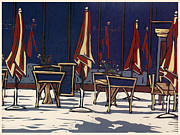 Restaurant Wall Art Prints - Sidewalk Cafe - Linocut Print Print by Annie Laurie
