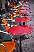 Empty Chairs Photo Framed Prints - Sidewalk cafe in Paris Framed Print by Elena Elisseeva