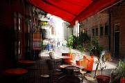 Red Cafe Posters - Sidewalk Cafe in Red Poster by Wayne Archer
