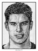Nhl Hockey Drawings Prints - Sidney Crosby in 2007 Print by J McCombie