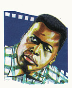 Author Drawings Framed Prints - Sidney Poitier Framed Print by Emmanuel Baliyanga