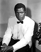 1957 Movies Prints - Sidney Poitier, On The Set For The Film Print by Everett