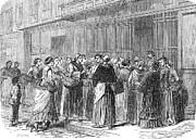 1870 Photos - SIEGE OF PARIS, 1870. /nHousewives queuing outside a butcher shop during the German Siege of Paris. Wood engraving from a French newspaper of 1870 by Granger