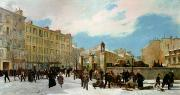 Urban Winter Scenes Framed Prints - Siege of Paris Framed Print by Jacques Guiaud
