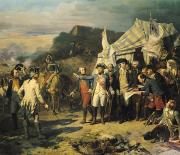 Us Flag Paintings - Siege of Yorktown by Louis Charles Auguste  Couder