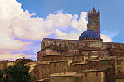Duomo Cathedral Digital Art Prints - Siena in Italy Print by Maigi