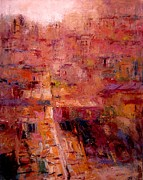 Tuscan Dusk Paintings - Sienese rooftops by R W Goetting
