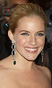 Drop Earrings Metal Prints - Sienna Miller At Arrivals For Marchesa Metal Print by Everett