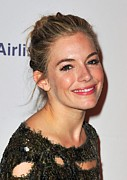 Hair Bun Acrylic Prints - Sienna Miller In Attendance For After Acrylic Print by Everett