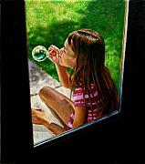 Blowing Paintings - Sierra Blowing Bubbles by John Lautermilch
