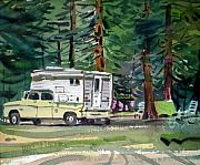 Camping Paintings - Sierra Campsite by Donald Maier