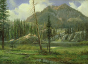 Puddle Painting Prints - Sierra Nevada Mountains Print by Albert Bierstadt