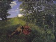 Homes Painting Prints - Siesta Print by Hans Thoma