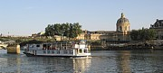 France Prints - Sightseeing boat on river Seine. Paris Print by Bernard Jaubert