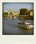 Boat Cruise Prints - Sightseeings on the river Seine in Paris Print by Bernard Jaubert