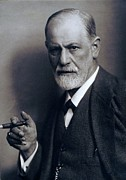 Freud Photo Framed Prints - Sigmund Freud 1856-1939 Smoking Cigar Framed Print by Everett