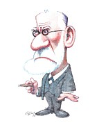 Freud Framed Prints - Sigmund Freud, Caricature Framed Print by Gary Brown