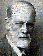 Freud Digital Art Posters - Sigmund Freud Mosaic Poster by Paul Van Scott