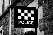 Police Station Framed Prints - sign for a police station outside a strathclyde police station in Oban Scotland UK Framed Print by Joe Fox