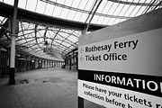 Listed Building Framed Prints - Sign For The Rothesay Ferry And Ticket Office Inside Weymss Bay Railway Station Scotland Uk Framed Print by Joe Fox
