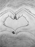 Hands Of Love Drawings - Sign of Love by Madelyn May