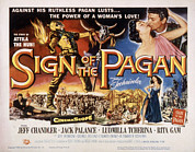 1950s Movies Framed Prints - Sign Of The Pagan, Ludmilla Tcherina Framed Print by Everett