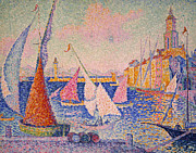 1899 Framed Prints - Signac: St. Tropez Harbor Framed Print by Granger