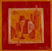 Wine Bottle Mixed Media Framed Prints - Signature Beverage - Orange Framed Print by Shellton Tremble