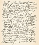 July 4th Metal Prints - Signatures attached to the American Declaration of Independence of 1776 Metal Print by Founding Fathers