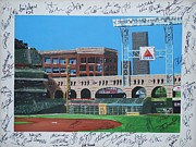 Houston Astros Painting Framed Prints - Signed Minute Maid Framed Print by Leo Artist