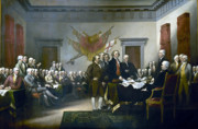 History Painting Framed Prints - Signing The Declaration Of Independance Framed Print by War Is Hell Store