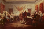 Benjamin Franklin Painting Posters - Signing the Declaration of Independence Poster by John Trumbull