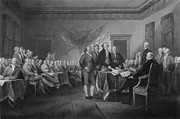 Thomas Jefferson Mixed Media Prints - Signing The Declaration of Independence Print by War Is Hell Store