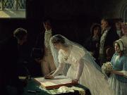 Bouquet Paintings - Signing the Register by Edmund Blair Leighton