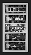 5th Ave. Prints - SIGNS OF NEW YORK in BLACK AND WHITE Print by Rob Hans