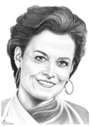 Pencil Portrait Drawings - Sigourney Weaver by Murphy Elliott