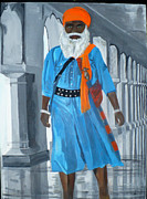 Light In The Eyes Posters - SIkh man strolling in Gurdwara Poster by Jesika Breitenfeld