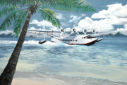 Flying Boat Posters - Sikorsky S-42 Poster by Kenneth Young