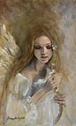 Angel Painting Metal Prints - Silence Metal Print by Dorina  Costras