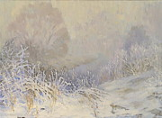 Winterscape Painting Originals - Silence by Helen Kishkurno