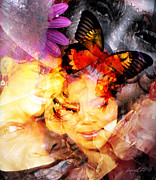 Calling Mixed Media Framed Prints - Silent Butterfly Framed Print by Fania Simon