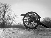 Antietam Framed Prints - Silent Cannon in Winter Black and White Framed Print by Judi Quelland