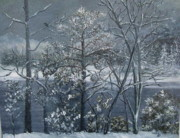Snow Covered Pine Trees Paintings - Silent Frost by Amelie Gates