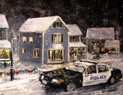 Police Christmas Card Paintings - Silent Knight by Jack Skinner