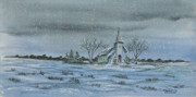 New England Snow Scene Painting Posters - Silent Night Poster by Charlotte Blanchard