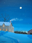 Snowscape Painting Posters - Silent Night Poster by Norm Starks