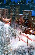 City Scape Paintings - Silent Night NYC by Leonardo Ruggieri