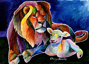 Lion Lamb Posters - Silent Night Poster by Sherry Shipley