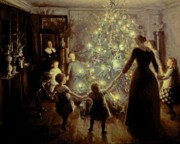 Xmas Painting Posters - Silent Night Poster by Viggo Johansen