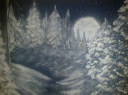 Snowy Night Paintings - Silent winter by Irina Astley
